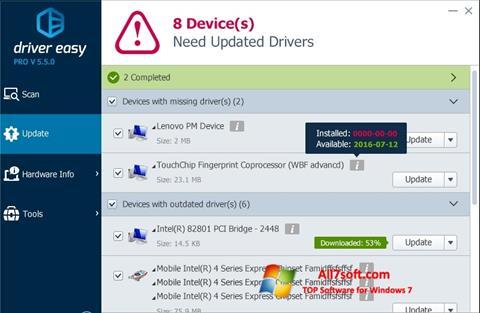 Skärmdump Driver Easy för Windows 7