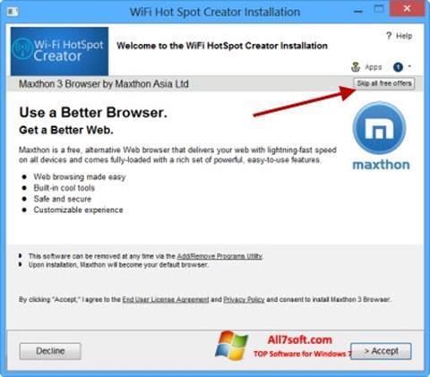 Skärmdump Wi-Fi HotSpot Creator för Windows 7