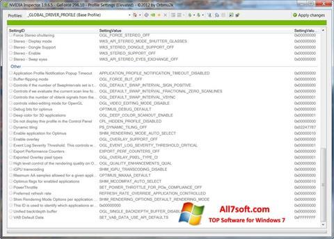 Skärmdump NVIDIA Inspector för Windows 7