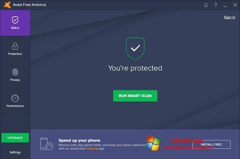 Skärmdump Avast Free Antivirus för Windows 7