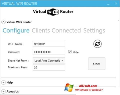 Skärmdump Virtual WiFi Router för Windows 7