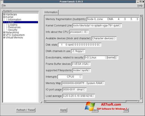 Skärmdump PowerTweak för Windows 7