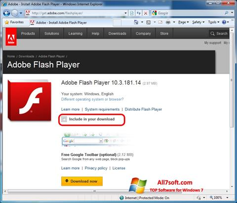 Skärmdump Adobe Flash Player för Windows 7