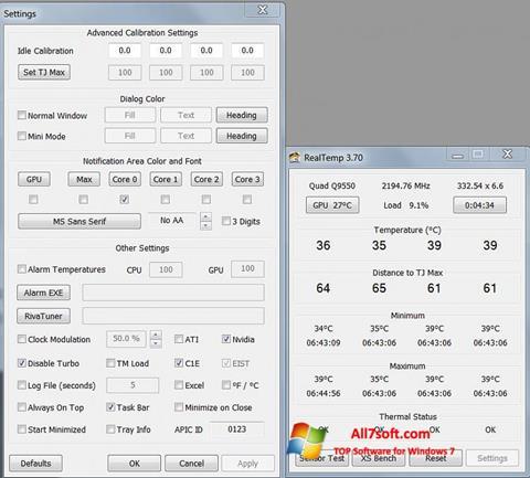 Skärmdump Real Temp för Windows 7