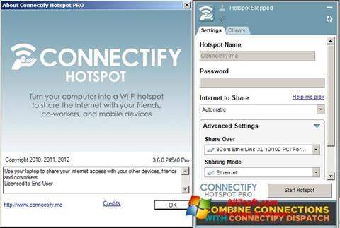 Skärmdump Connectify för Windows 7