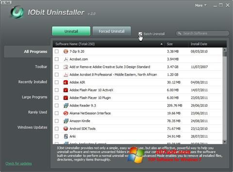 Skärmdump IObit Uninstaller för Windows 7