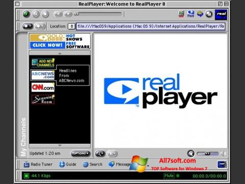 Skärmdump RealPlayer för Windows 7