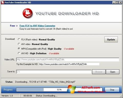 Skärmdump Youtube Downloader HD för Windows 7