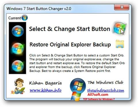 Skärmdump Windows 7 Start Button Changer för Windows 7